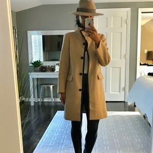 Ann Taylor camel leather trim coat size XS